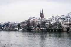 Inverno a Basilea, Svizzera Fotografie Stock Libere da Diritti
