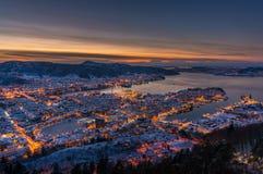 Inverno a Bergen, Norvegia fotografie stock libere da diritti