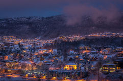 Inverno a Bergen, Norvegia fotografia stock libera da diritti