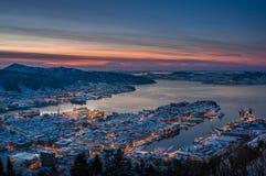 Inverno a Bergen, Norvegia fotografia stock
