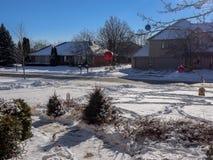 Inverno bianco nella via Fotografia Stock Libera da Diritti