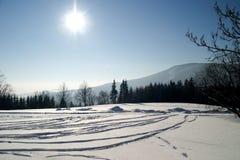 Inverno bianco nelle montagne Fotografia Stock Libera da Diritti