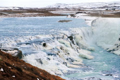 Inverno blu Gullfoss immagine stock