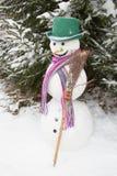 Inverno - boneco de neve em uma paisagem nevado com um chapéu Fotografia de Stock