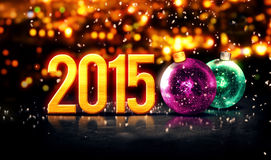 inverno bonito 3D de Bokeh do ouro de 2015 quinquilharias Imagens de Stock