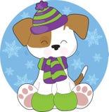 Inverno bonito do filhote de cachorro Fotografia de Stock Royalty Free