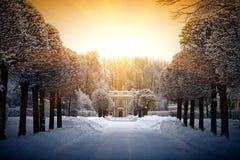 Inverno bonito em Kuskovo imagens de stock