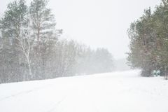 inverno bonito gelado e da neve da estação na estrada no país Foto de Stock Royalty Free