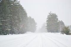 inverno bonito gelado e da neve da estação na estrada no país Imagem de Stock
