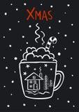 inverno bonito preto e branco do xmas do Feliz Natal, anos novos do cartão ilustração do vetor