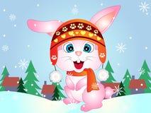 inverno Bunny Rabbit do vetor dos desenhos animados imagens de stock royalty free