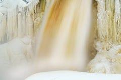 Inverno, cadute superiori di Tahquamenon Fotografie Stock