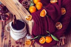 Inverno caldo con tè ed i mandarini Immagini Stock Libere da Diritti