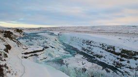 Inverno in cascata di Gullfoss in Islanda Immagini Stock Libere da Diritti