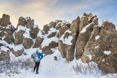 Inverno che fa un'escursione alla fortificazione naturale Immagine Stock