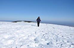 Inverno che fa un'escursione donna Fotografie Stock Libere da Diritti