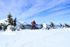 Inverno che fa un'escursione nelle montagne sulle racchette da neve Fotografia Stock Libera da Diritti
