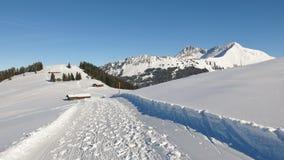Inverno che fa un'escursione percorso con il bello Mountain View M. innevata Fotografia Stock