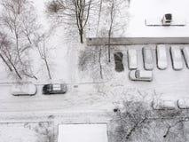 inverno, cidade, distrito residencial, carros, vista superior Foto de Stock Royalty Free