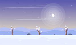 Inverno con il fondo del gioco di paesaggio della neve illustrazione vettoriale