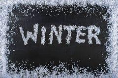 inverno da inscrição na textura preta da placa Imagem de Stock Royalty Free