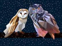 inverno da noite da coruja baixo poli Fotos de Stock