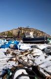 Inverno de Hastings da indústria do barco de pesca da traineira Fotografia de Stock