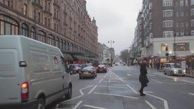 inverno de Londres da estrada de Brompton video estoque