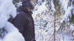 inverno de passeio Forest Traveler With Backpack da neve do homem Acenando sua mão na câmera video estoque