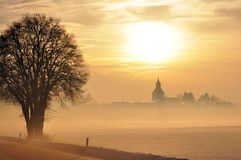 Inverno de Sonnenuntergang em Baviera Fotos de Stock