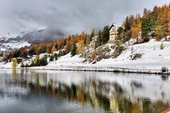 inverno de St Moritz do lago Imagens de Stock Royalty Free