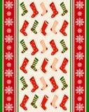 Inverno del fiocco di neve e priorità bassa dei calzini. Fotografie Stock Libere da Diritti