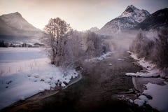 Inverno del fiume della montagna Fotografia Stock Libera da Diritti