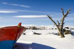 Inverno del lago boat (4 stagione Kars) Fotografia Stock