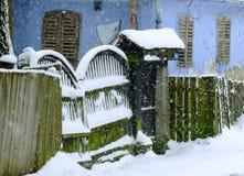 Inverno del villaggio Fotografia Stock