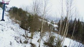 Inverno dell'ascensore di sci di vista video d archivio