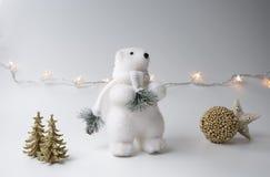 Inverno dell'orso polare, decorazioni di natale su fondo bianco Immagine Stock