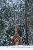 Inverno della cappella di Yosemite Fotografie Stock