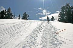 Inverno della montagna che fa un'escursione vista fotografia stock libera da diritti