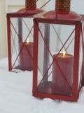 Inverno della neve della candela immagini stock libere da diritti