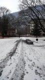 Inverno della neve della via Fotografia Stock