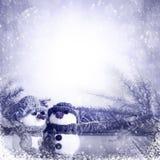 Inverno di legno blu del pannello dei pupazzi di neve Fotografia Stock Libera da Diritti