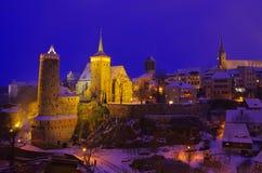 Inverno di notte di Bolzano Fotografia Stock