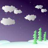 Inverno di notte nella foresta Immagini Stock