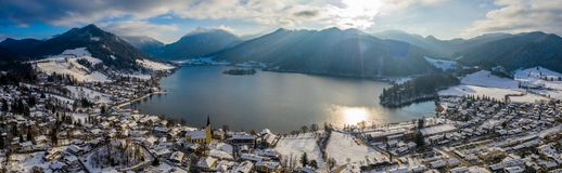 Inverno di Schliersee del lago aerial View, Germania fotografia stock