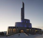 Inverno di sera della cattedrale dell'aurora boreale Immagini Stock