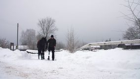 Inverno di Snowy, cavi disabili della puleggia tenditrice dell'uomo, tenenti con le redini un cavallo nero sul modo l'uomo ha una archivi video