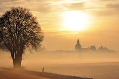 Inverno di Sonnenuntergang in Baviera Fotografie Stock