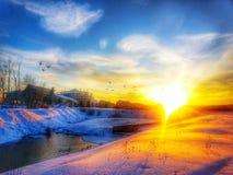 Inverno di tramonto Immagine Stock Libera da Diritti