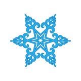 inverno do floco de neve no fundo branco Silhueta azul do ícone ilustração do vetor para o projeto do Natal Sinal do ano novo Sym Imagens de Stock